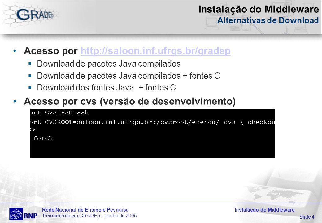 Slide 4 Rede Nacional de Ensino e Pesquisa Instalação do Middleware Treinamento em GRADEp – junho de 2005 Instalação do Middleware Alternativas de Download Acesso por http://saloon.inf.ufrgs.br/gradephttp://saloon.inf.ufrgs.br/gradep Download de pacotes Java compilados Download de pacotes Java compilados + fontes C Download dos fontes Java + fontes C Acesso por cvs (versão de desenvolvimento) $export CVS_RSH=ssh $export CVSROOT=saloon.inf.ufrgs.br:/cvsroot/exehda/ cvs \ checkout exehda- dev $ant fetch