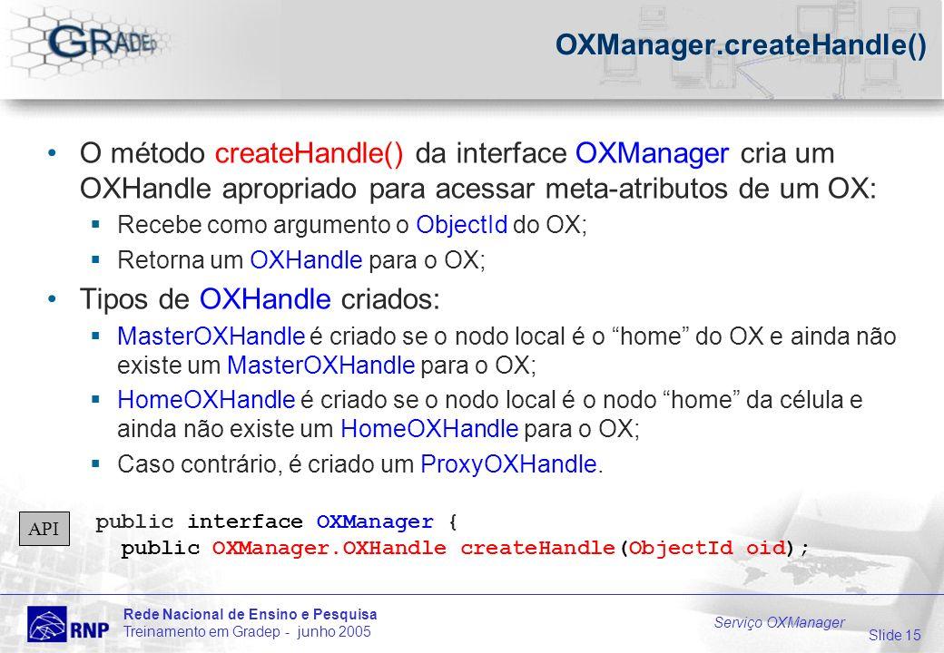 Slide 15 Rede Nacional de Ensino e Pesquisa Treinamento em Gradep - junho 2005 Serviço OXManager OXManager.createHandle() O método createHandle() da interface OXManager cria um OXHandle apropriado para acessar meta-atributos de um OX: Recebe como argumento o ObjectId do OX; Retorna um OXHandle para o OX; Tipos de OXHandle criados: MasterOXHandle é criado se o nodo local é o home do OX e ainda não existe um MasterOXHandle para o OX; HomeOXHandle é criado se o nodo local é o nodo home da célula e ainda não existe um HomeOXHandle para o OX; Caso contrário, é criado um ProxyOXHandle.