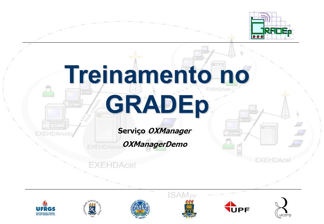 Slide 22 Rede Nacional de Ensino e Pesquisa Treinamento em Gradep - junho 2005 Serviço OXManager Treinamento no GRADEp Serviço OXManager OXManagerDemo