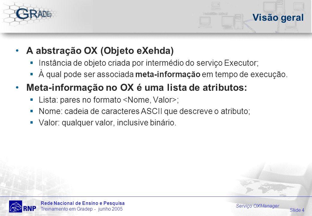 Slide 4 Rede Nacional de Ensino e Pesquisa Treinamento em Gradep - junho 2005 Serviço OXManager Visão geral A abstração OX (Objeto eXehda) Instância de objeto criada por intermédio do serviço Executor; À qual pode ser associada meta-informação em tempo de execução.