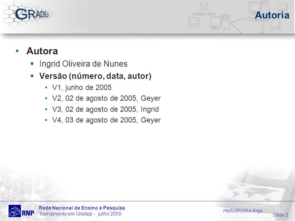 Slide 3 Rede Nacional de Ensino e Pesquisa Treinamento em Gradep - julho 2005 HelloWorld e Args Sumário da Apresentação HelloWorld exemplo de programa Java executado pelo GRADEp Args idem com uso de argumentos