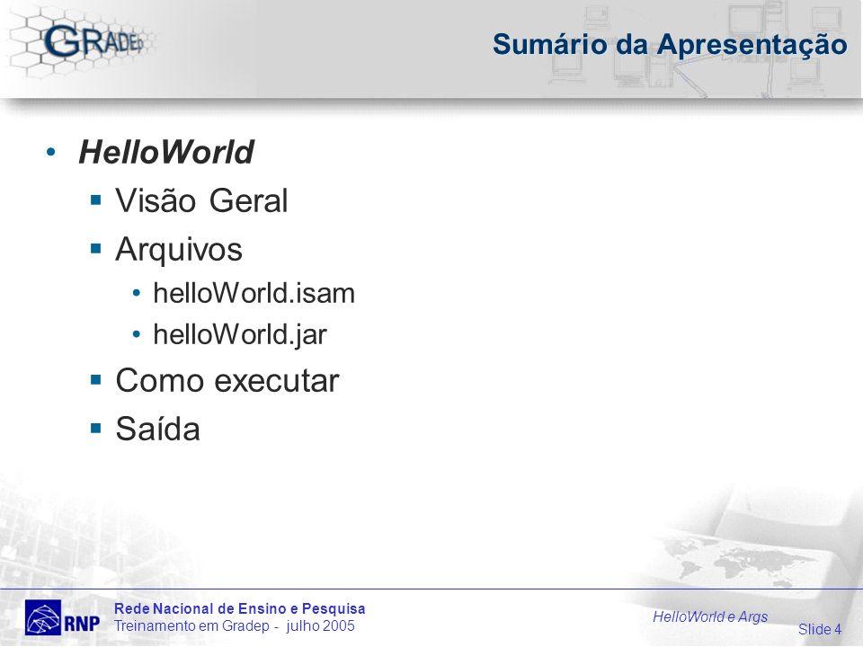 Slide 4 Rede Nacional de Ensino e Pesquisa Treinamento em Gradep - julho 2005 HelloWorld e Args Sumário da Apresentação HelloWorld Visão Geral Arquivos helloWorld.isam helloWorld.jar Como executar Saída
