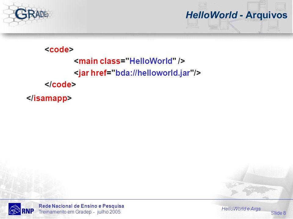 Slide 9 Rede Nacional de Ensino e Pesquisa Treinamento em Gradep - julho 2005 HelloWorld e Args HelloWorld - Arquivos helloWorld.jar arquivo que contém: classes Java para rodar a aplicação // HelloWorld.java public class HelloWorld { public static void main(String[ ] args) { // Imprime na saída padrão System.out.println( Hello World! ); }