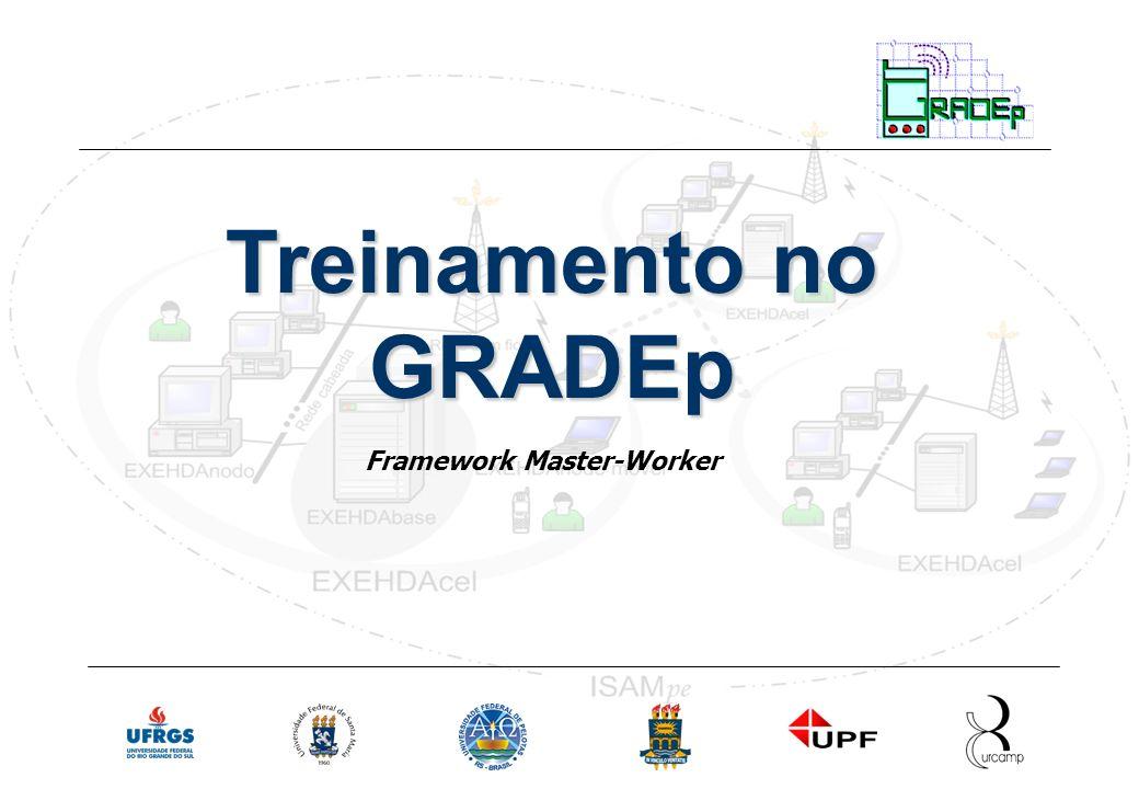 Slide 12 Rede Nacional de Ensino e Pesquisa Treinamento em Gradep - junho 2005 Serviço ContextManager Passo 2: Interface WorkSplitter a classe que implementa WorkSplitter deve criar os Jobs que vão ser processados distribuidamente.