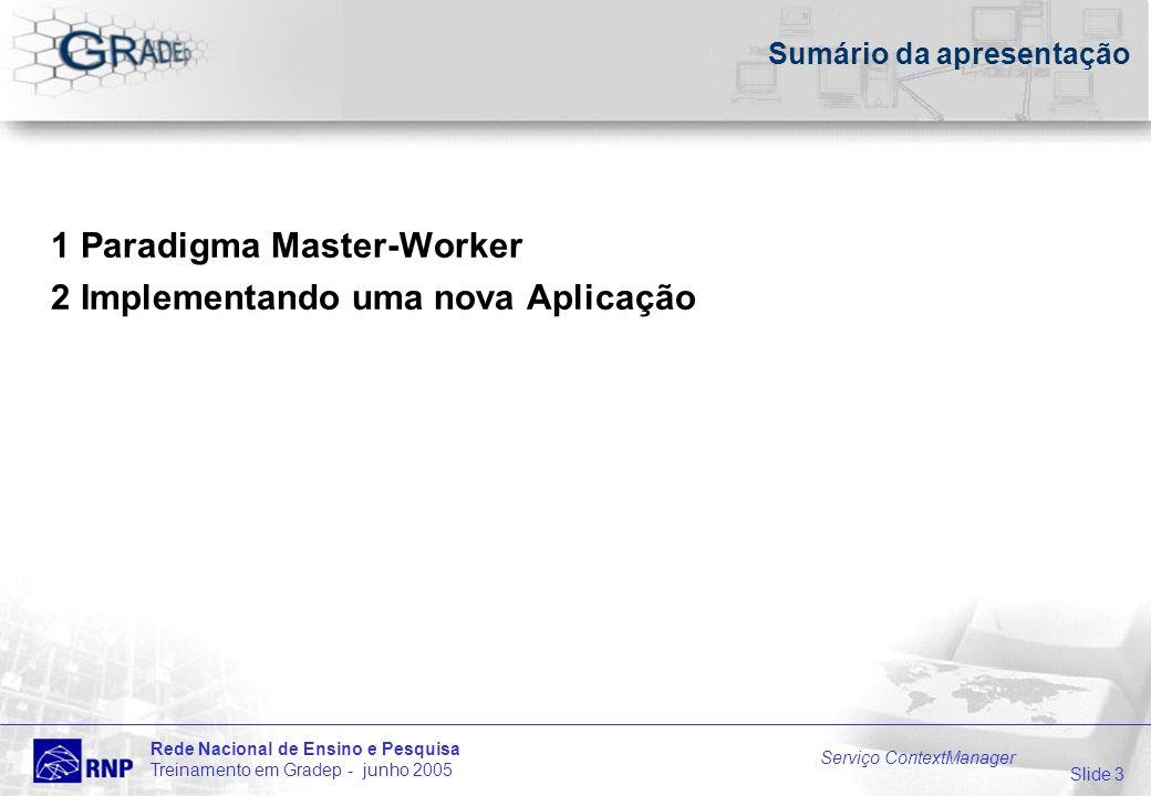 Slide 3 Rede Nacional de Ensino e Pesquisa Treinamento em Gradep - junho 2005 Serviço ContextManager Sumário da apresentação 1 Paradigma Master-Worker 2 Implementando uma nova Aplicação