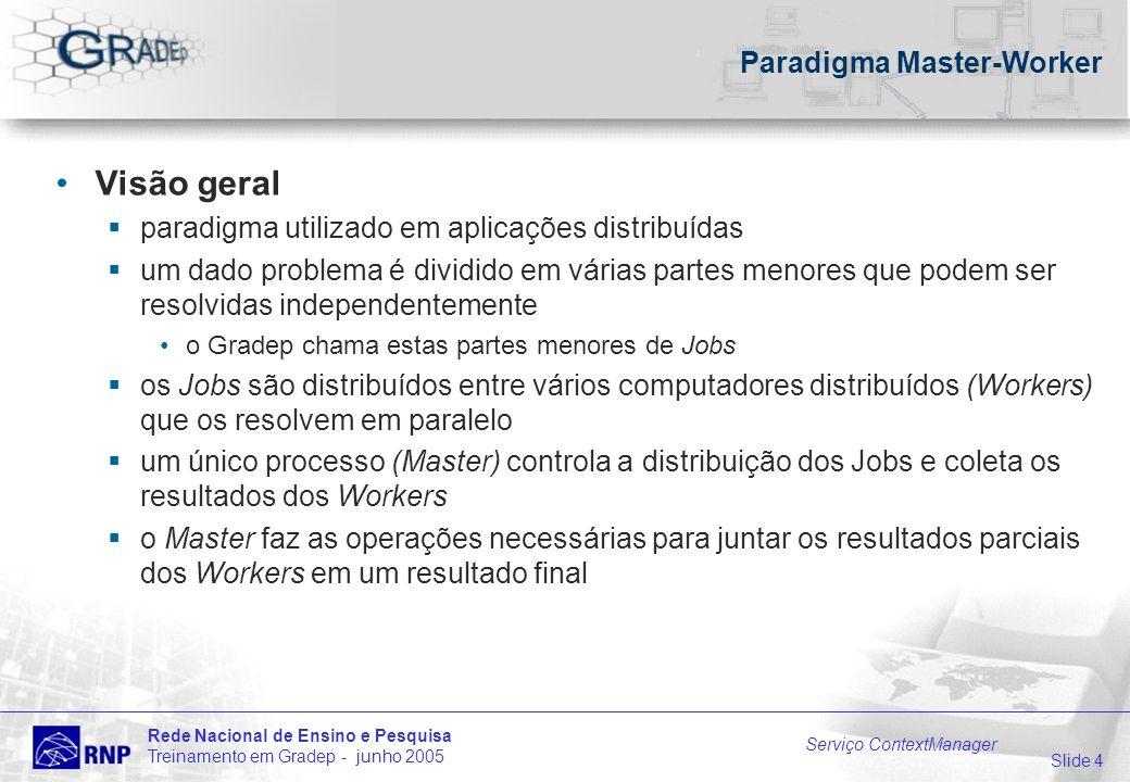 Slide 4 Rede Nacional de Ensino e Pesquisa Treinamento em Gradep - junho 2005 Serviço ContextManager Paradigma Master-Worker Visão geral paradigma uti