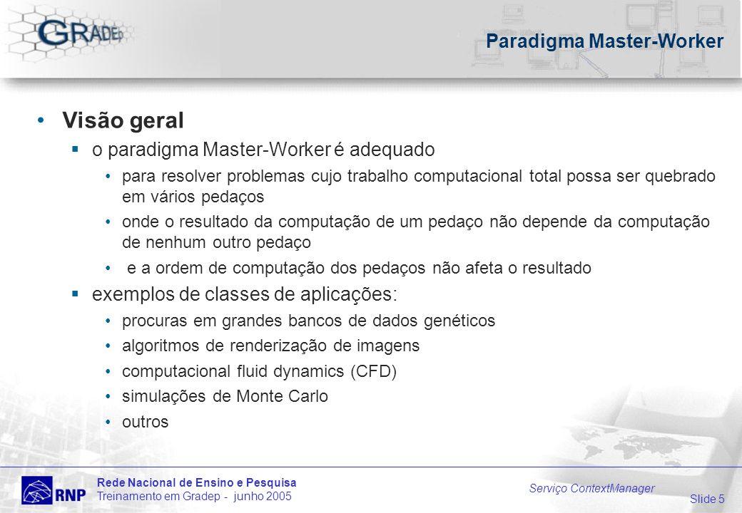 Slide 5 Rede Nacional de Ensino e Pesquisa Treinamento em Gradep - junho 2005 Serviço ContextManager Paradigma Master-Worker Visão geral o paradigma M