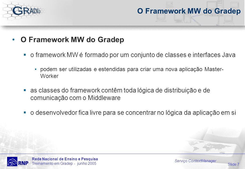 Slide 7 Rede Nacional de Ensino e Pesquisa Treinamento em Gradep - junho 2005 Serviço ContextManager O Framework MW do Gradep o framework MW é formado