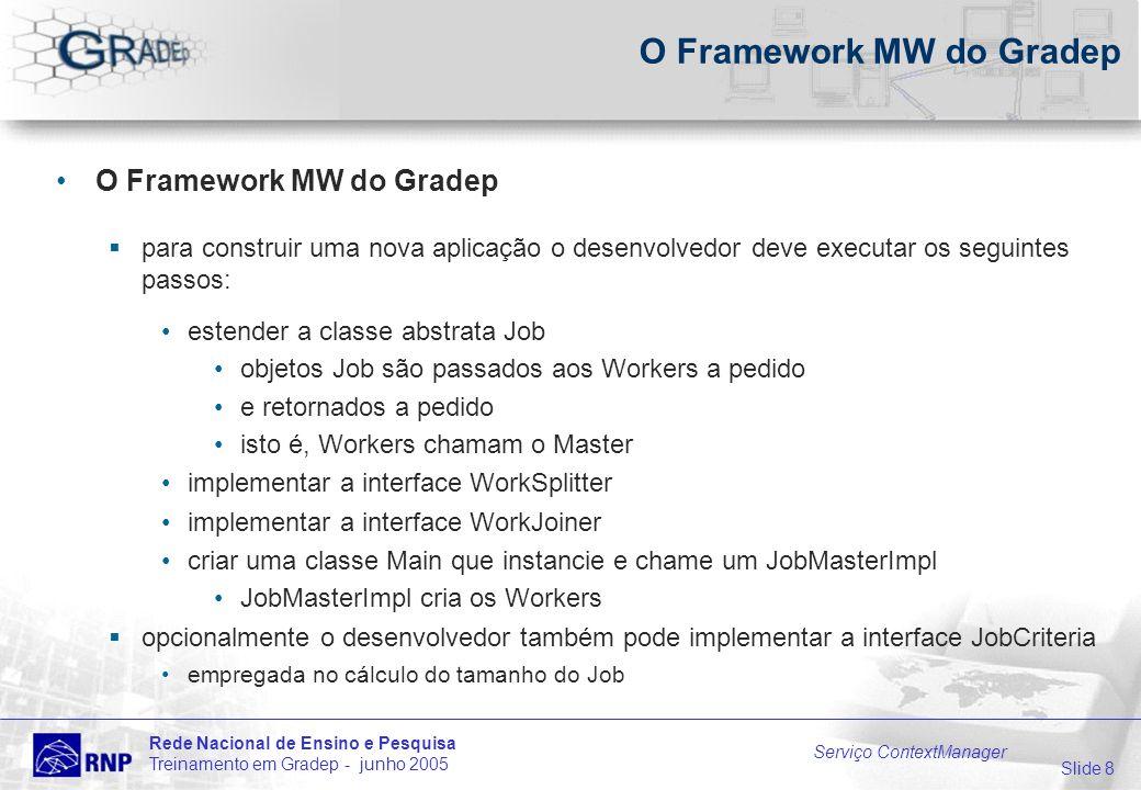 Slide 8 Rede Nacional de Ensino e Pesquisa Treinamento em Gradep - junho 2005 Serviço ContextManager O Framework MW do Gradep para construir uma nova