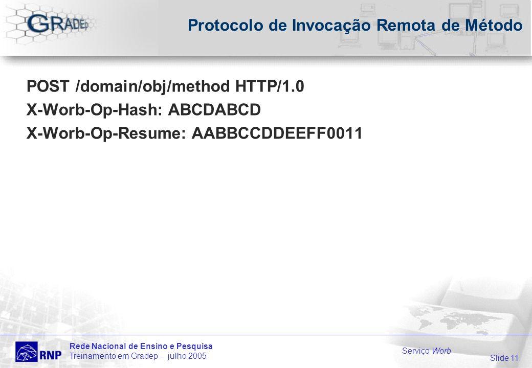 Slide 11 Rede Nacional de Ensino e Pesquisa Treinamento em Gradep - julho 2005 Serviço Worb Protocolo de Invocação Remota de Método POST /domain/obj/method HTTP/1.0 X-Worb-Op-Hash: ABCDABCD X-Worb-Op-Resume: AABBCCDDEEFF0011
