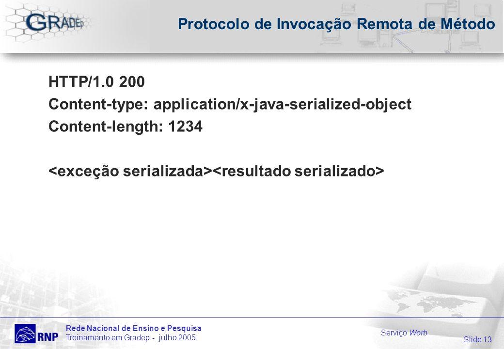 Slide 13 Rede Nacional de Ensino e Pesquisa Treinamento em Gradep - julho 2005 Serviço Worb Protocolo de Invocação Remota de Método HTTP/1.0 200 Content-type: application/x-java-serialized-object Content-length: 1234
