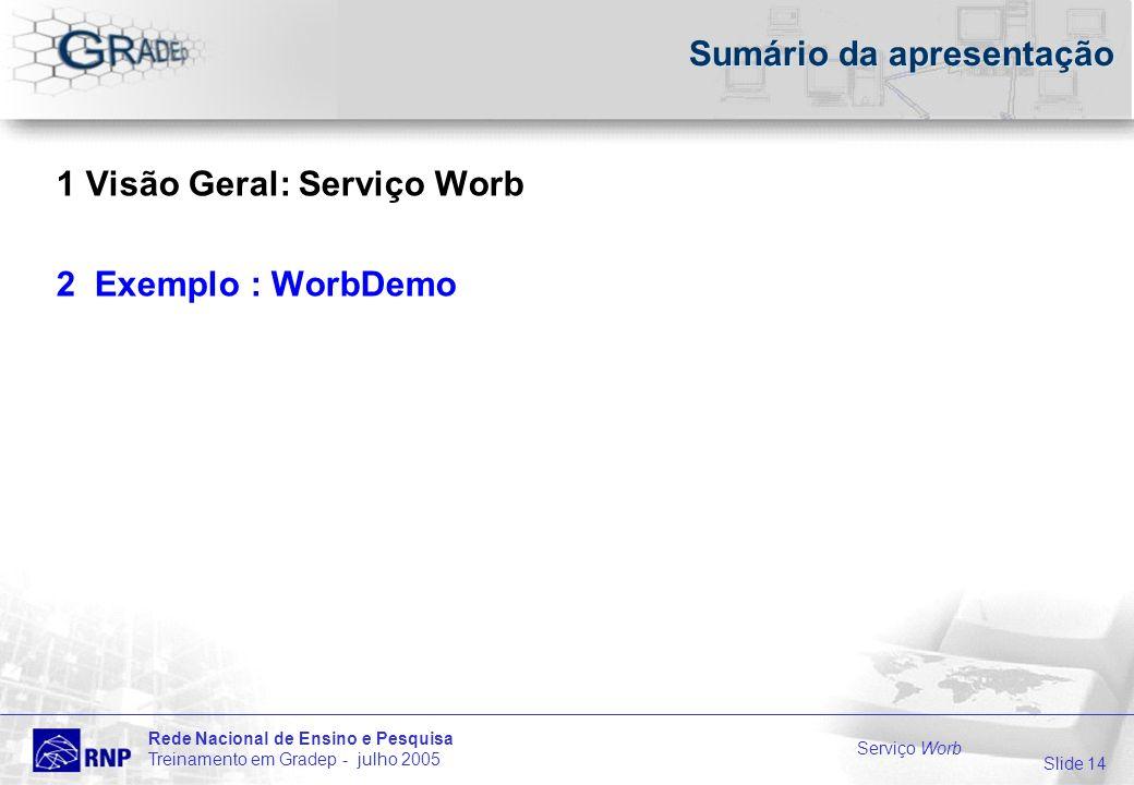 Slide 14 Rede Nacional de Ensino e Pesquisa Treinamento em Gradep - julho 2005 Serviço Worb Sumário da apresentação 1 Visão Geral: Serviço Worb 2 Exemplo : WorbDemo
