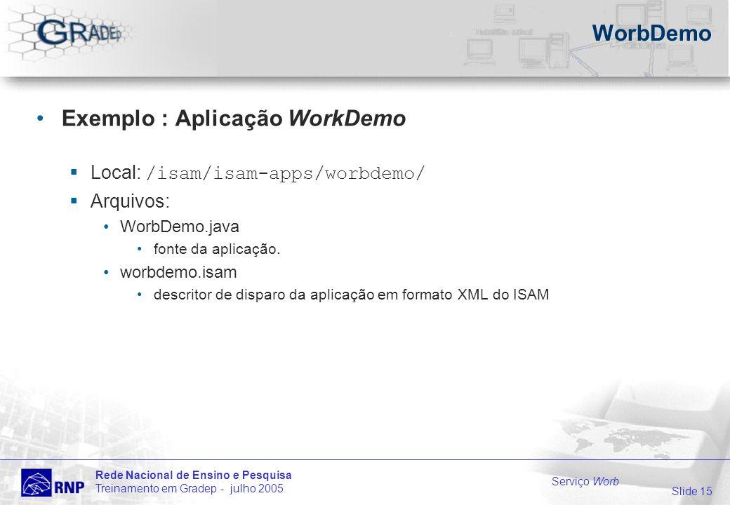 Slide 15 Rede Nacional de Ensino e Pesquisa Treinamento em Gradep - julho 2005 Serviço Worb WorbDemo Exemplo : Aplicação WorkDemo Local: /isam/isam-apps/worbdemo/ Arquivos: WorbDemo.java fonte da aplicação.