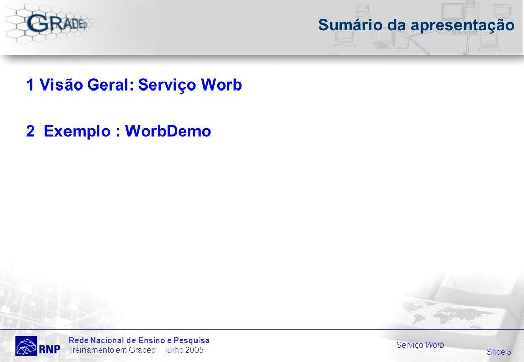 Slide 3 Rede Nacional de Ensino e Pesquisa Treinamento em Gradep - julho 2005 Serviço Worb Sumário da apresentação 1 Visão Geral: Serviço Worb 2 Exemplo : WorbDemo