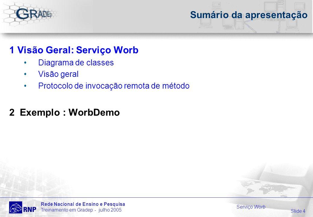 Slide 4 Rede Nacional de Ensino e Pesquisa Treinamento em Gradep - julho 2005 Serviço Worb Sumário da apresentação 1 Visão Geral: Serviço Worb Diagrama de classes Visão geral Protocolo de invocação remota de método 2 Exemplo : WorbDemo