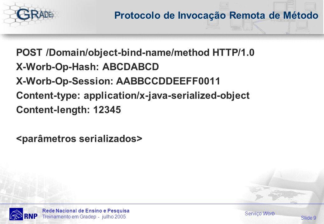 Slide 9 Rede Nacional de Ensino e Pesquisa Treinamento em Gradep - julho 2005 Serviço Worb Protocolo de Invocação Remota de Método POST /Domain/object-bind-name/method HTTP/1.0 X-Worb-Op-Hash: ABCDABCD X-Worb-Op-Session: AABBCCDDEEFF0011 Content-type: application/x-java-serialized-object Content-length: 12345