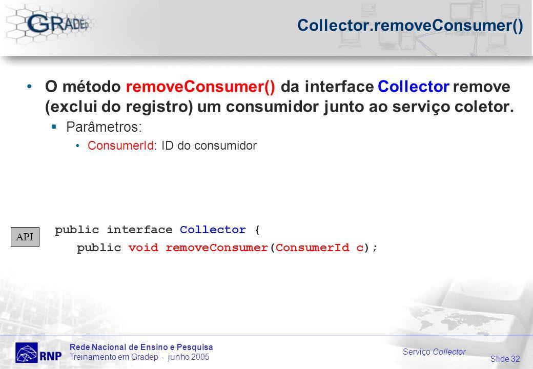 Slide 32 Rede Nacional de Ensino e Pesquisa Treinamento em Gradep - junho 2005 Serviço Collector Collector.removeConsumer() O método removeConsumer() da interface Collector remove (exclui do registro) um consumidor junto ao serviço coletor.