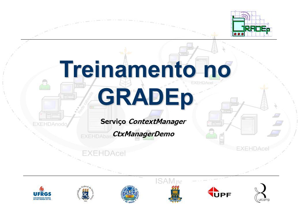 Slide 19 Rede Nacional de Ensino e Pesquisa Treinamento em Gradep - junho 2005 Serviço ContextManager Treinamento no GRADEp Serviço ContextManager CtxManagerDemo