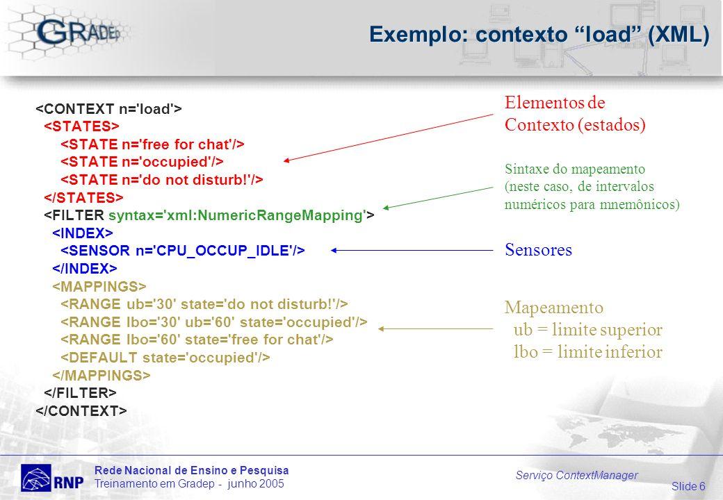 Slide 6 Rede Nacional de Ensino e Pesquisa Treinamento em Gradep - junho 2005 Serviço ContextManager Exemplo: contexto load (XML) Elementos de Contexto (estados) Sensores Sintaxe do mapeamento (neste caso, de intervalos numéricos para mnemônicos) Mapeamento ub = limite superior lbo = limite inferior