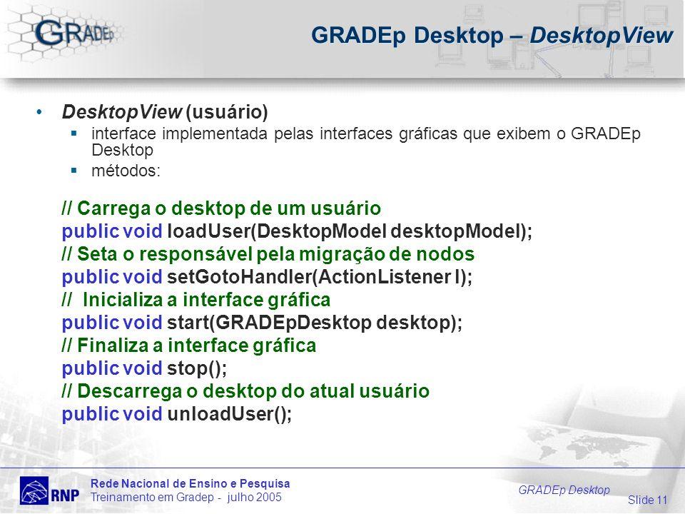 Slide 11 Rede Nacional de Ensino e Pesquisa Treinamento em Gradep - julho 2005 GRADEp Desktop GRADEp Desktop – DesktopView DesktopView (usuário) interface implementada pelas interfaces gráficas que exibem o GRADEp Desktop métodos: // Carrega o desktop de um usuário public void loadUser(DesktopModel desktopModel); // Seta o responsável pela migração de nodos public void setGotoHandler(ActionListener l); // Inicializa a interface gráfica public void start(GRADEpDesktop desktop); // Finaliza a interface gráfica public void stop(); // Descarrega o desktop do atual usuário public void unloadUser();