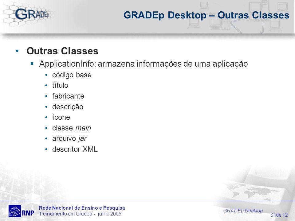 Slide 12 Rede Nacional de Ensino e Pesquisa Treinamento em Gradep - julho 2005 GRADEp Desktop GRADEp Desktop – Outras Classes Outras Classes Applicati