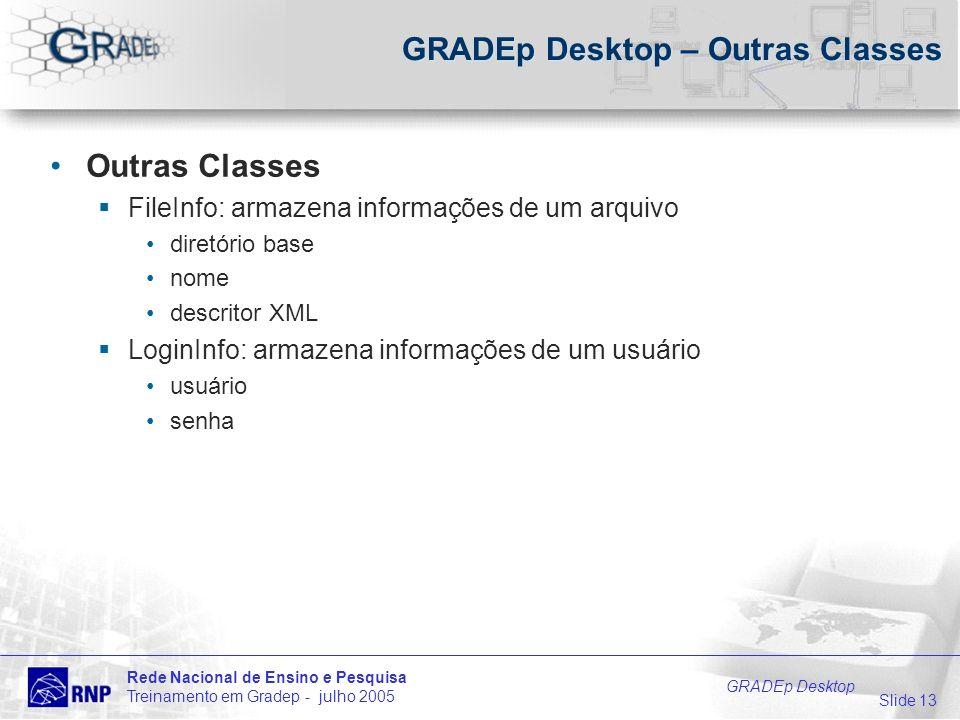 Slide 13 Rede Nacional de Ensino e Pesquisa Treinamento em Gradep - julho 2005 GRADEp Desktop GRADEp Desktop – Outras Classes Outras Classes FileInfo: armazena informações de um arquivo diretório base nome descritor XML LoginInfo: armazena informações de um usuário usuário senha