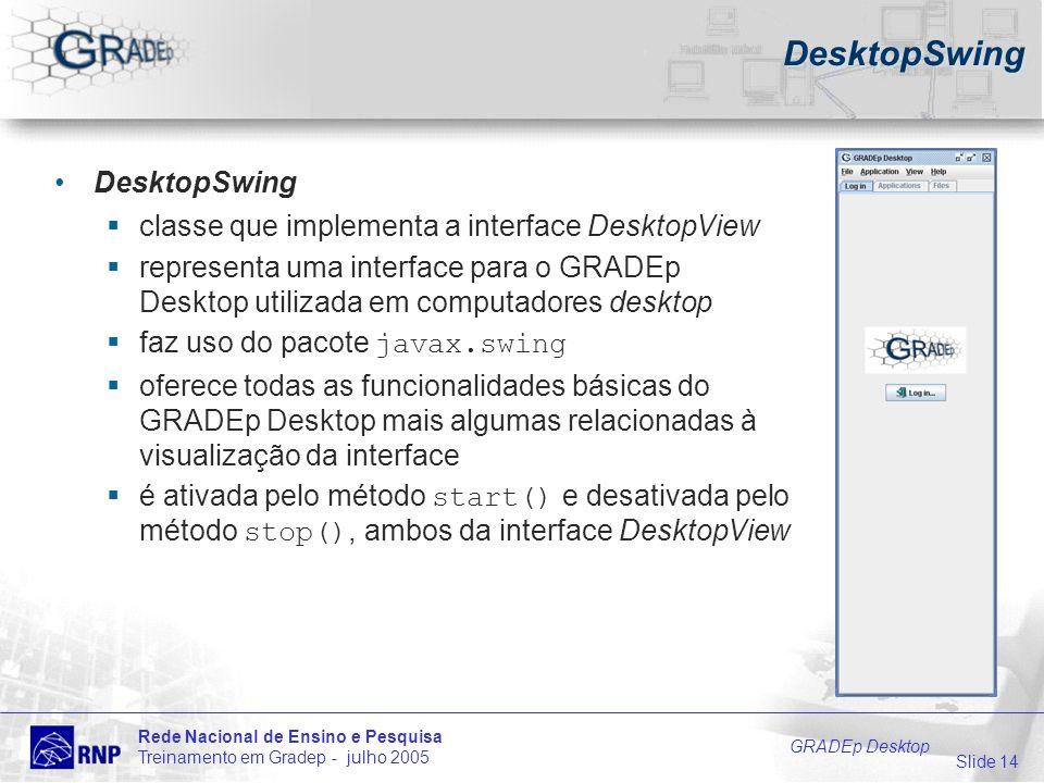 Slide 14 Rede Nacional de Ensino e Pesquisa Treinamento em Gradep - julho 2005 GRADEp Desktop DesktopSwing classe que implementa a interface DesktopView representa uma interface para o GRADEp Desktop utilizada em computadores desktop faz uso do pacote javax.swing oferece todas as funcionalidades básicas do GRADEp Desktop mais algumas relacionadas à visualização da interface é ativada pelo método start() e desativada pelo método stop(), ambos da interface DesktopView