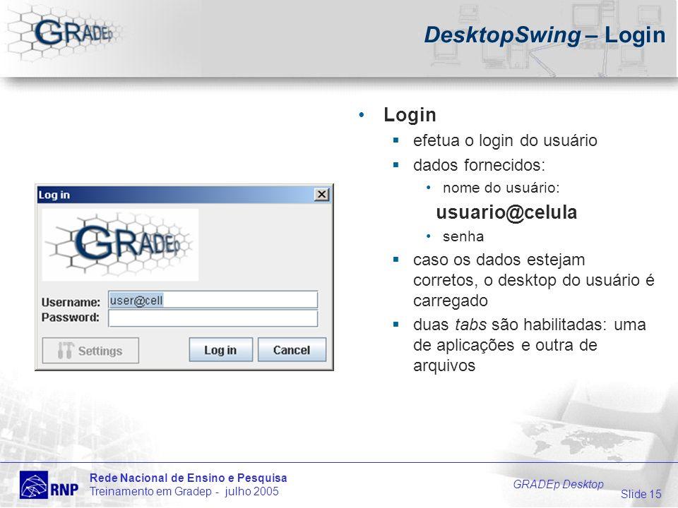 Slide 15 Rede Nacional de Ensino e Pesquisa Treinamento em Gradep - julho 2005 GRADEp Desktop DesktopSwing – Login Login efetua o login do usuário dad