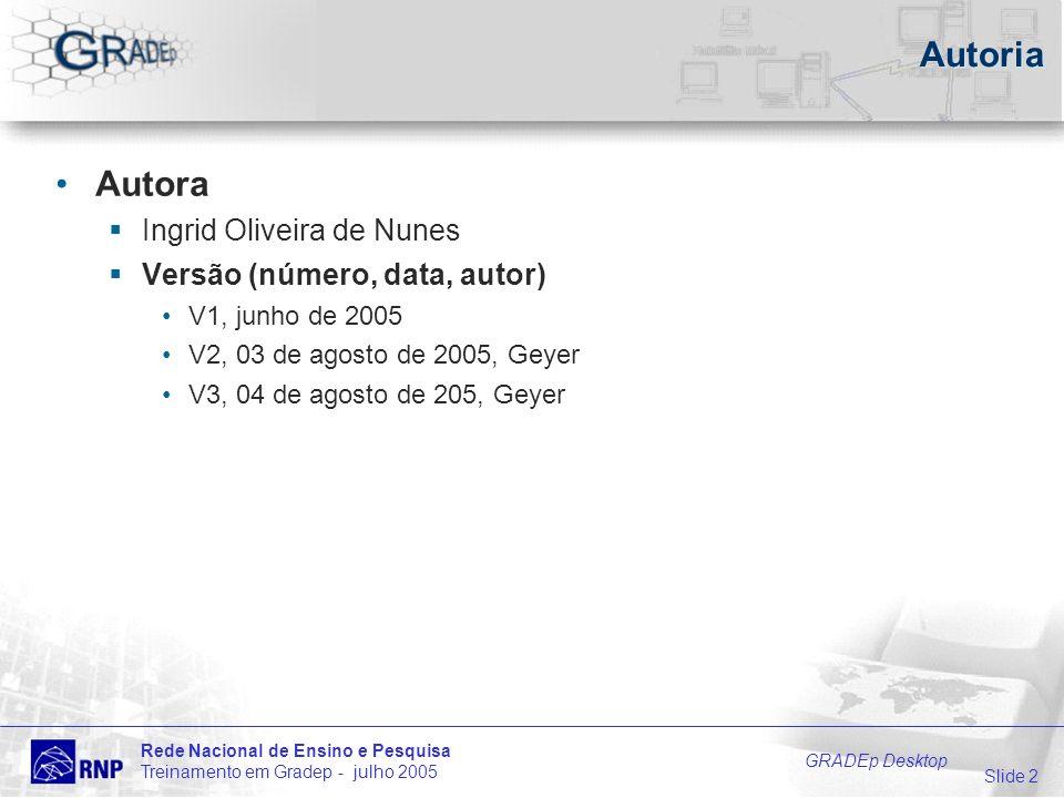 Slide 2 Rede Nacional de Ensino e Pesquisa Treinamento em Gradep - julho 2005 GRADEp Desktop Autoria Autora Ingrid Oliveira de Nunes Versão (número, data, autor) V1, junho de 2005 V2, 03 de agosto de 2005, Geyer V3, 04 de agosto de 205, Geyer
