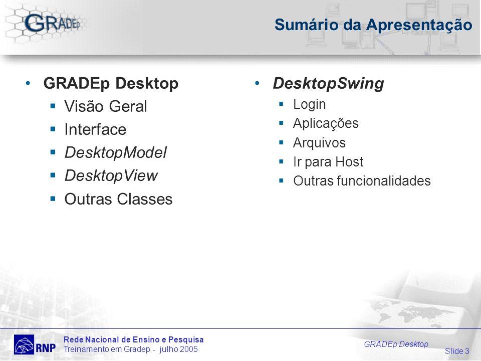 Slide 3 Rede Nacional de Ensino e Pesquisa Treinamento em Gradep - julho 2005 GRADEp Desktop Sumário da Apresentação GRADEp Desktop Visão Geral Interf