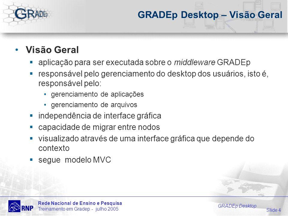 Slide 4 Rede Nacional de Ensino e Pesquisa Treinamento em Gradep - julho 2005 GRADEp Desktop GRADEp Desktop – Visão Geral Visão Geral aplicação para ser executada sobre o middleware GRADEp responsável pelo gerenciamento do desktop dos usuários, isto é, responsável pelo: gerenciamento de aplicações gerenciamento de arquivos independência de interface gráfica capacidade de migrar entre nodos visualizado através de uma interface gráfica que depende do contexto segue modelo MVC
