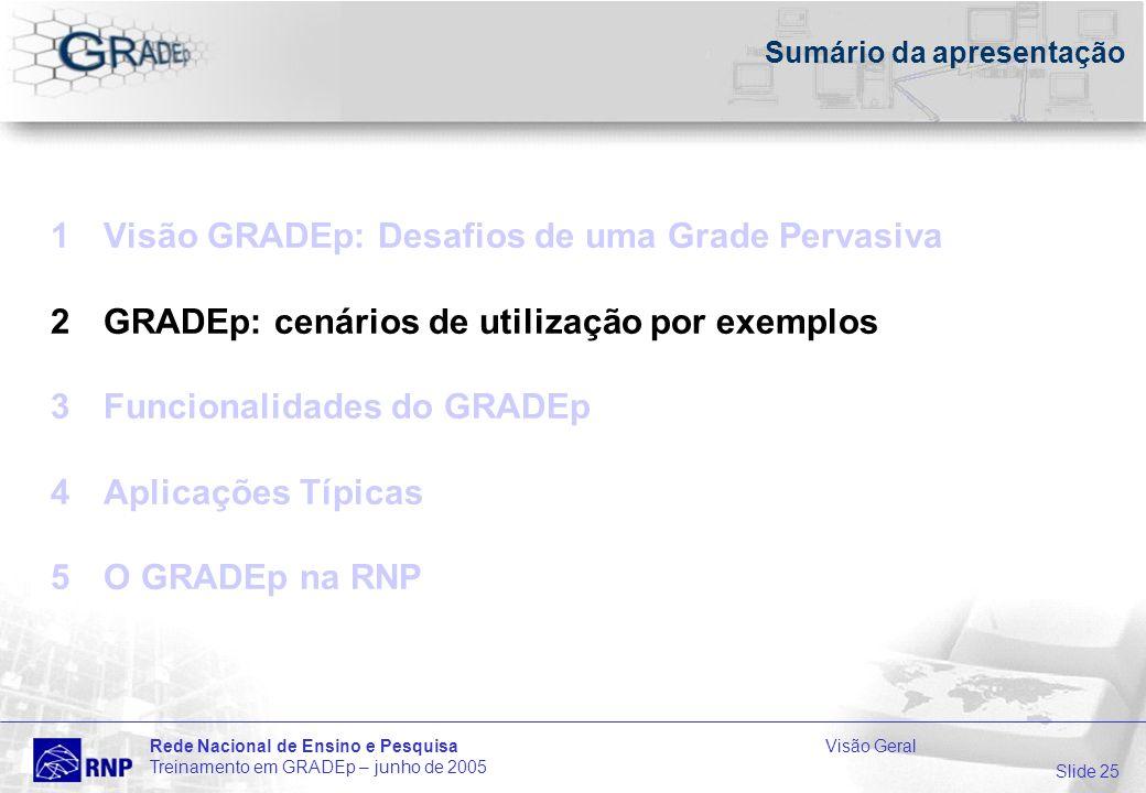 Slide 25 Rede Nacional de Ensino e PesquisaVisão Geral Treinamento em GRADEp – junho de 2005 Sumário da apresentação 1Visão GRADEp: Desafios de uma Grade Pervasiva 2GRADEp: cenários de utilização por exemplos 3Funcionalidades do GRADEp 4Aplicações Típicas 5O GRADEp na RNP