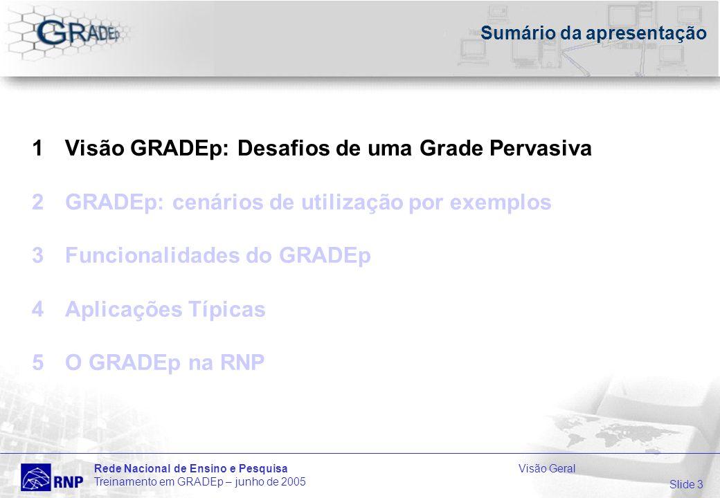Slide 3 Rede Nacional de Ensino e PesquisaVisão Geral Treinamento em GRADEp – junho de 2005 Sumário da apresentação 1Visão GRADEp: Desafios de uma Grade Pervasiva 2GRADEp: cenários de utilização por exemplos 3Funcionalidades do GRADEp 4Aplicações Típicas 5O GRADEp na RNP