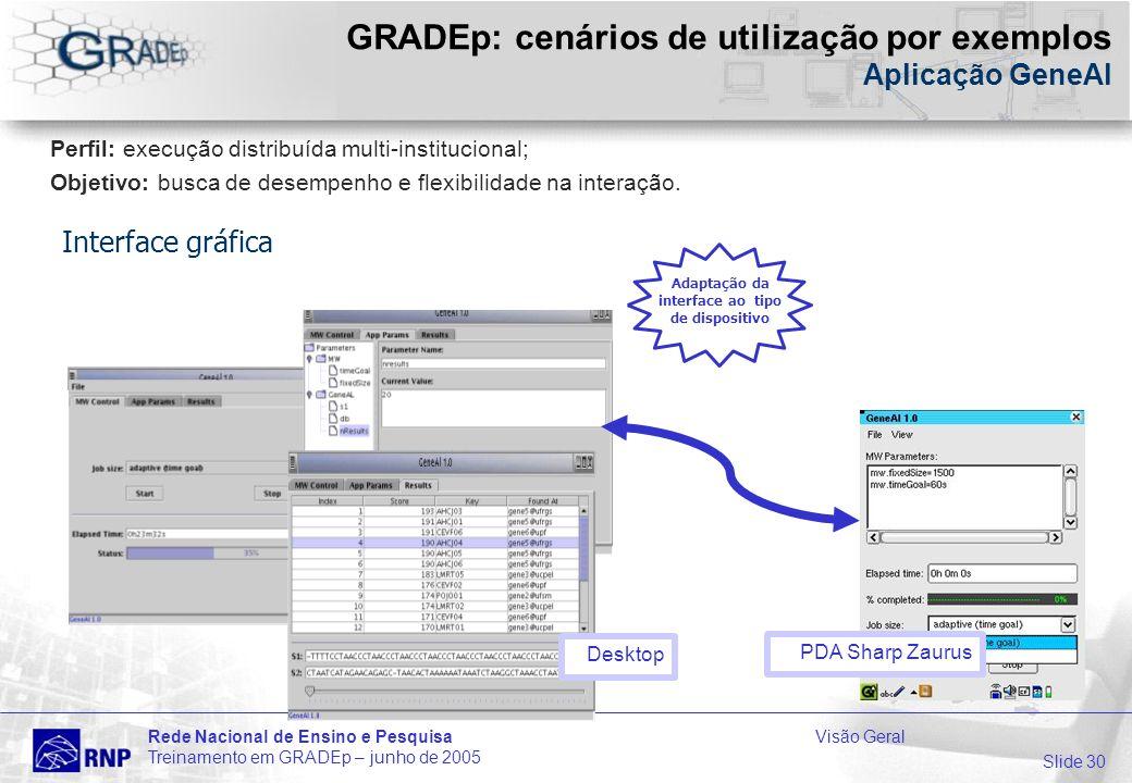 Slide 30 Rede Nacional de Ensino e PesquisaVisão Geral Treinamento em GRADEp – junho de 2005 GRADEp: cenários de utilização por exemplos Aplicação GeneAl Desktop PDA Sharp Zaurus Adaptação da interface ao tipo de dispositivo Perfil: execução distribuída multi-institucional; Objetivo: busca de desempenho e flexibilidade na interação.