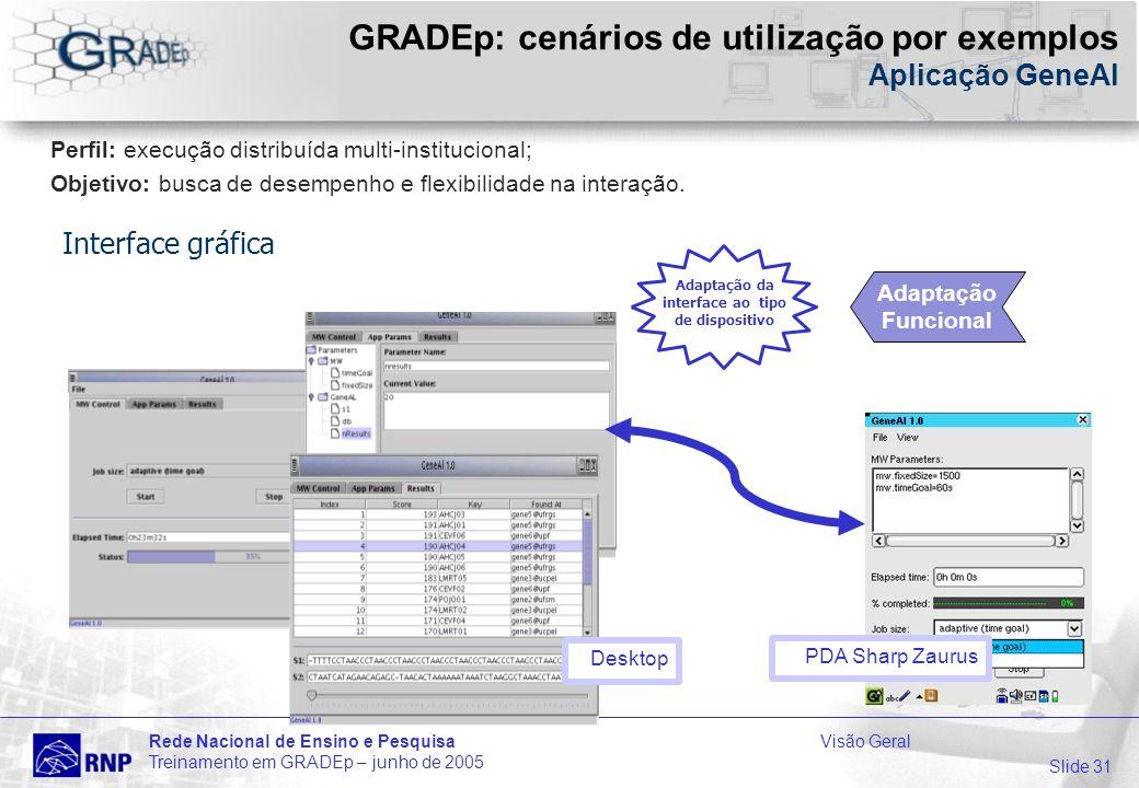 Slide 31 Rede Nacional de Ensino e PesquisaVisão Geral Treinamento em GRADEp – junho de 2005 GRADEp: cenários de utilização por exemplos Aplicação GeneAl Desktop PDA Sharp Zaurus Adaptação da interface ao tipo de dispositivo Perfil: execução distribuída multi-institucional; Objetivo: busca de desempenho e flexibilidade na interação.