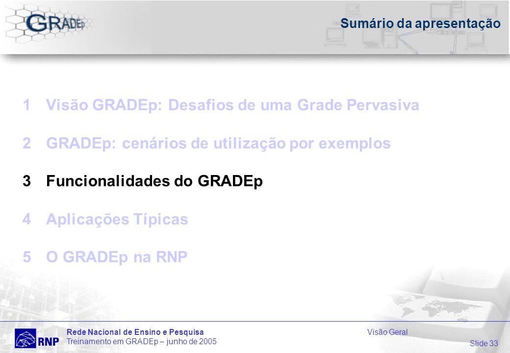 Slide 33 Rede Nacional de Ensino e PesquisaVisão Geral Treinamento em GRADEp – junho de 2005 Sumário da apresentação 1Visão GRADEp: Desafios de uma Grade Pervasiva 2GRADEp: cenários de utilização por exemplos 3Funcionalidades do GRADEp 4Aplicações Típicas 5O GRADEp na RNP