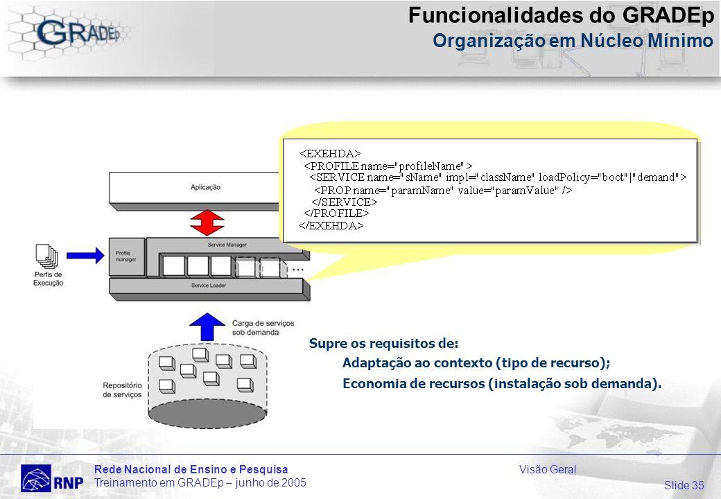 Slide 35 Rede Nacional de Ensino e PesquisaVisão Geral Treinamento em GRADEp – junho de 2005 Supre os requisitos de: Adaptação ao contexto (tipo de recurso); Economia de recursos (instalação sob demanda).