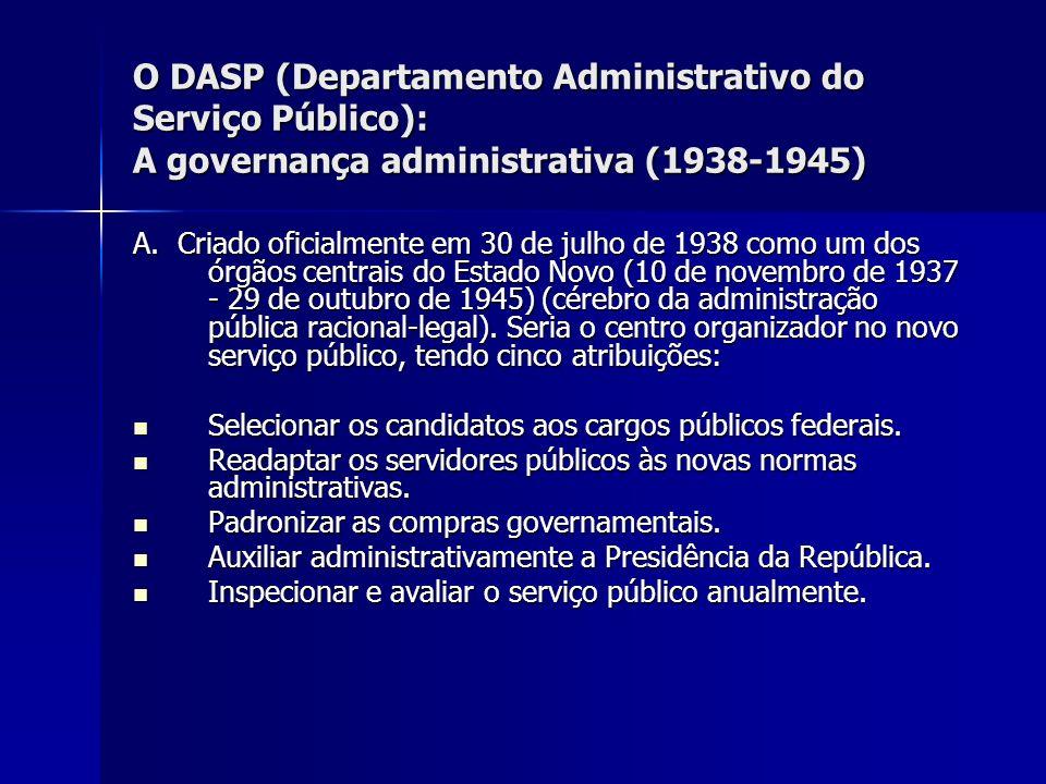 O DASP (Departamento Administrativo do Serviço Público): A governança administrativa (1938-1945) A. Criado oficialmente em 30 de julho de 1938 como um