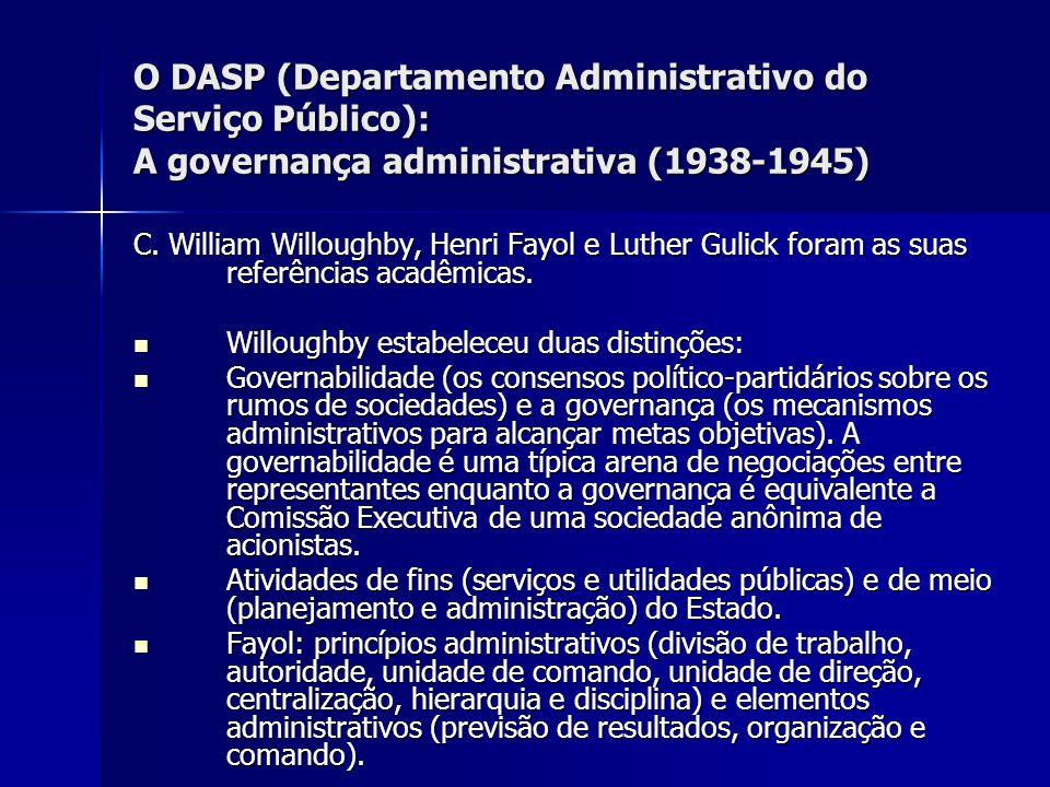 O DASP (Departamento Administrativo do Serviço Público): A governança administrativa (1938-1945) C. William Willoughby, Henri Fayol e Luther Gulick fo