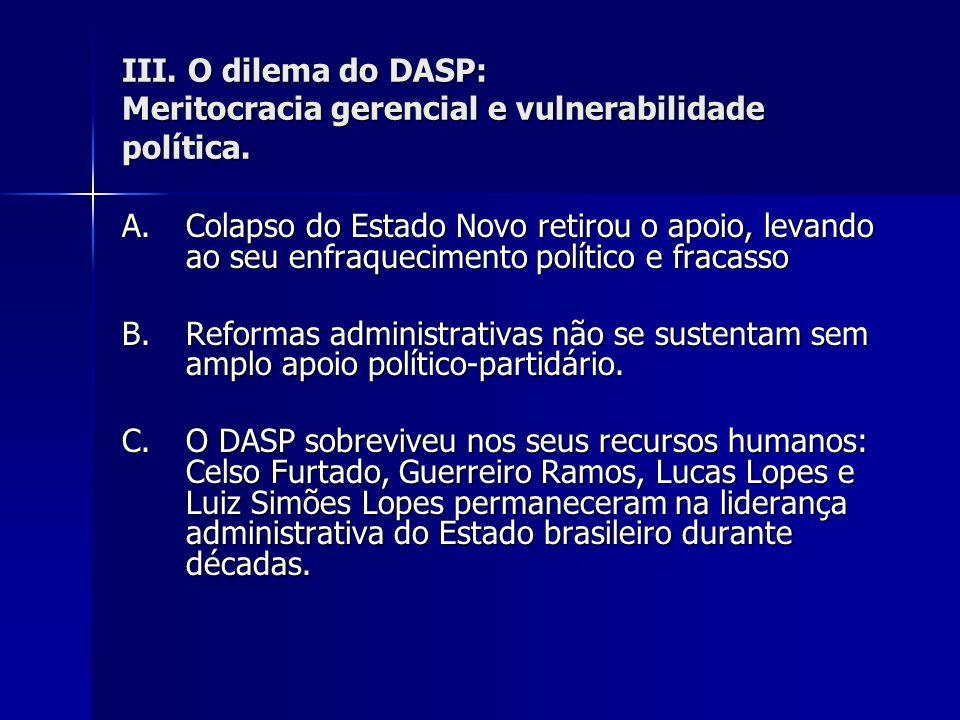 III. O dilema do DASP: Meritocracia gerencial e vulnerabilidade política. A.Colapso do Estado Novo retirou o apoio, levando ao seu enfraquecimento pol