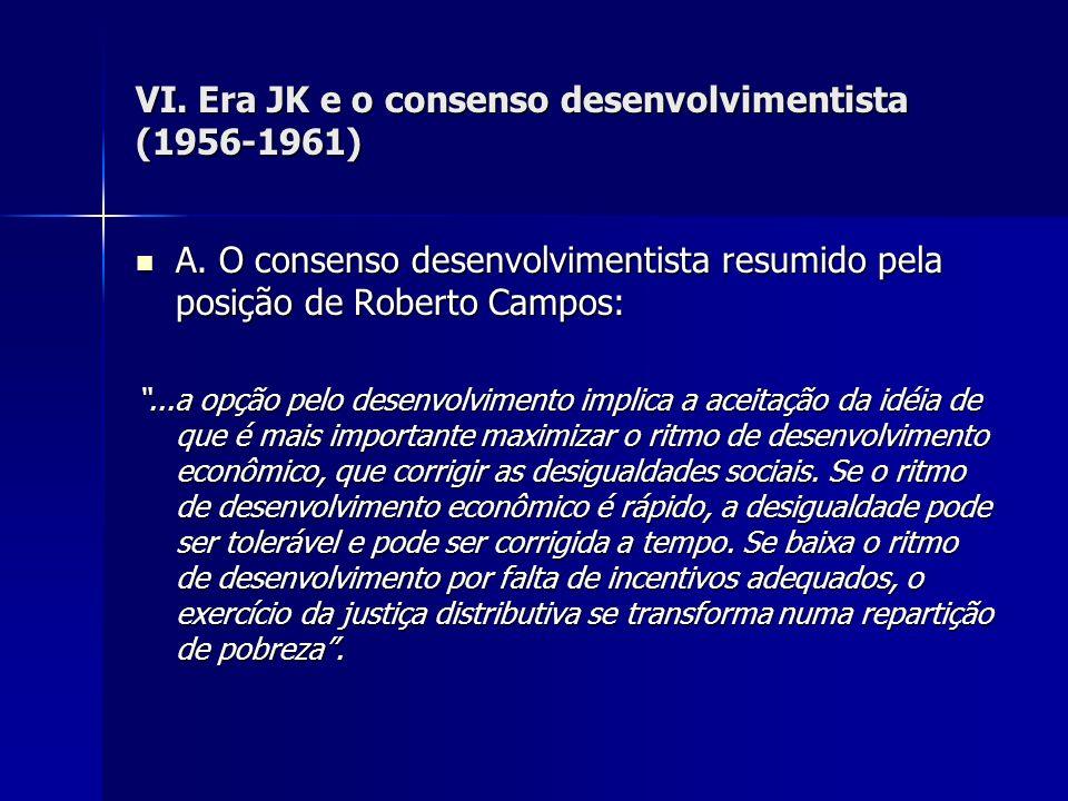 VI. Era JK e o consenso desenvolvimentista (1956-1961) A. O consenso desenvolvimentista resumido pela posição de Roberto Campos: A. O consenso desenvo
