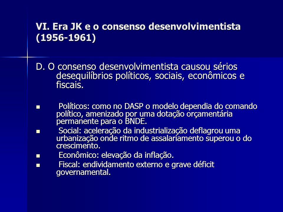 VI. Era JK e o consenso desenvolvimentista (1956-1961) D. O consenso desenvolvimentista causou sérios desequilíbrios políticos, sociais, econômicos e