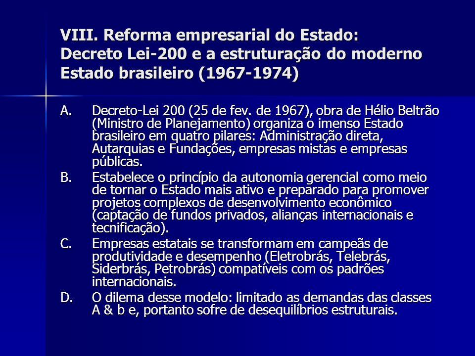 VIII. Reforma empresarial do Estado: Decreto Lei-200 e a estruturação do moderno Estado brasileiro (1967-1974) A.Decreto-Lei 200 (25 de fev. de 1967),