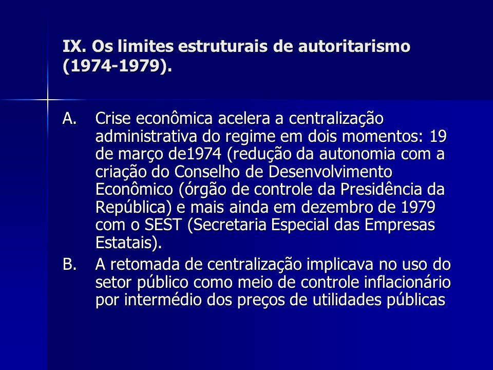 IX. Os limites estruturais de autoritarismo (1974-1979). A.Crise econômica acelera a centralização administrativa do regime em dois momentos: 19 de ma