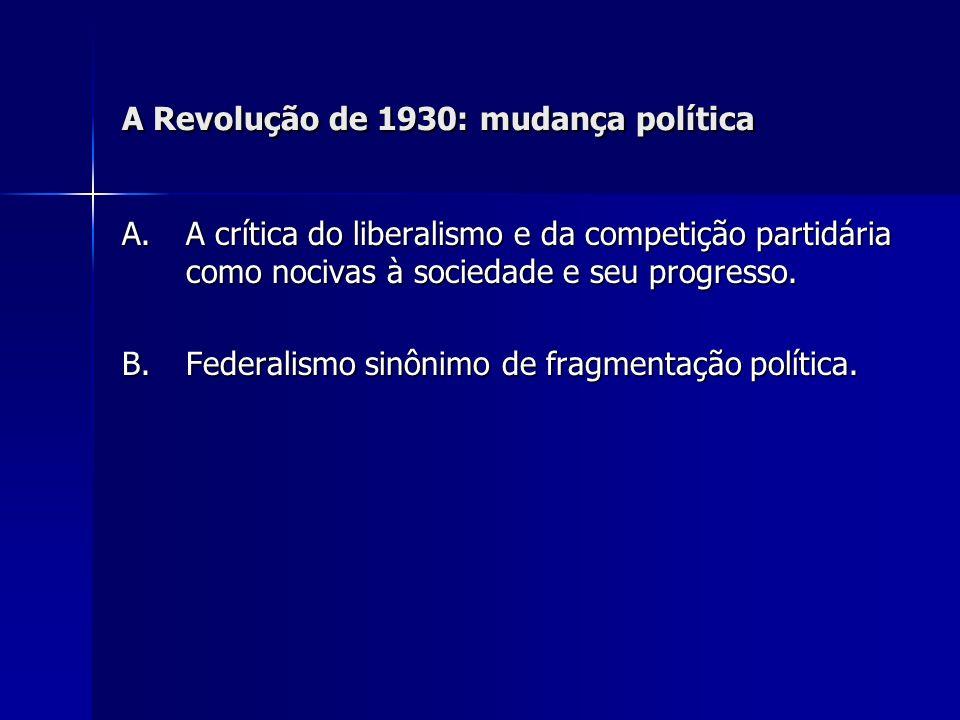 A Revolução de 1930: mudança política A.A crítica do liberalismo e da competição partidária como nocivas à sociedade e seu progresso. B. Federalismo s