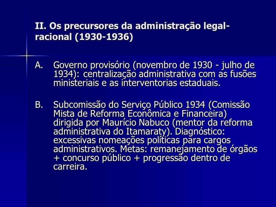 II. Os precursores da administração legal- racional (1930-1936) A. Governo provisório (novembro de 1930 - julho de 1934): centralização administrativa
