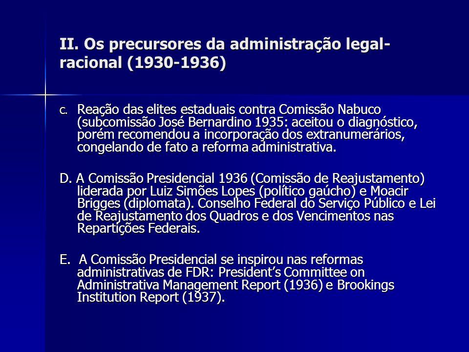 II. Os precursores da administração legal- racional (1930-1936) C. Reação das elites estaduais contra Comissão Nabuco (subcomissão José Bernardino 193