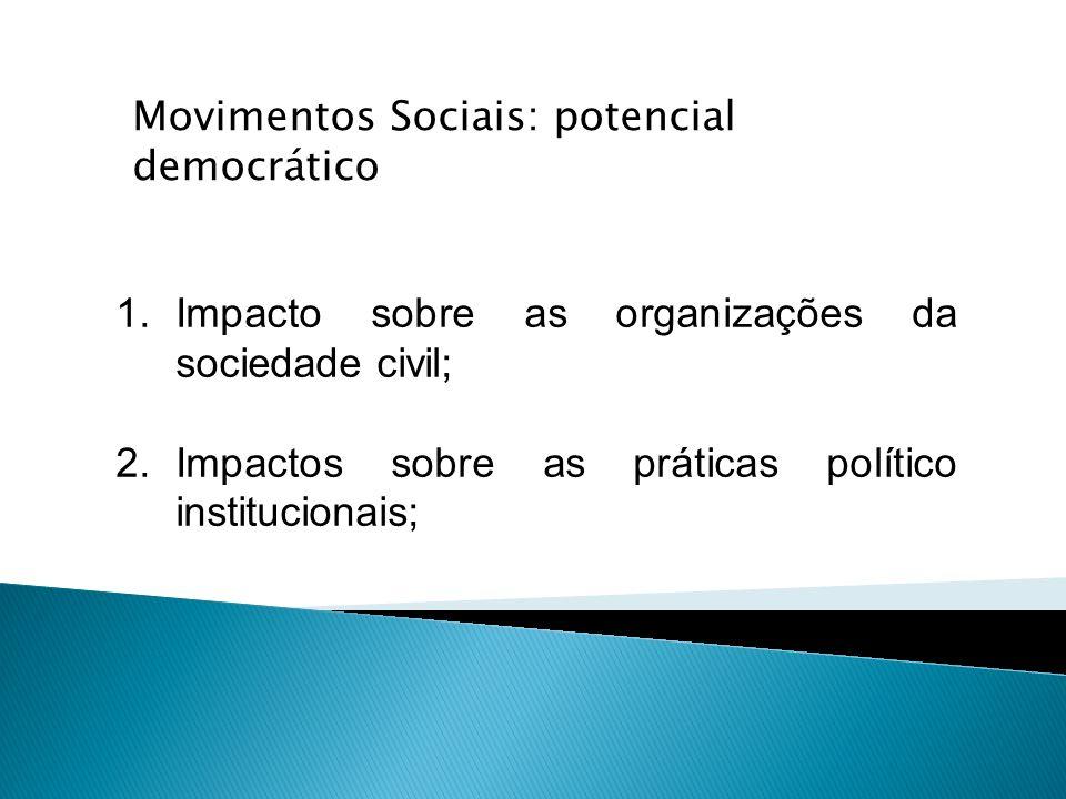 1.Impacto sobre as organizações da sociedade civil; 2.Impactos sobre as práticas político institucionais; Movimentos Sociais: potencial democrático