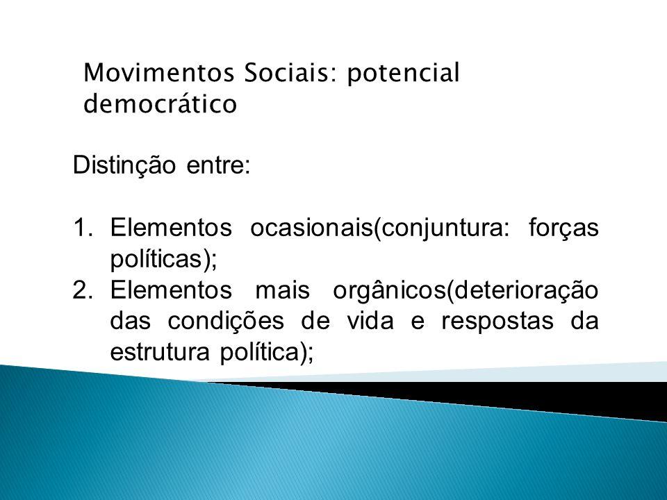 Distinção entre: 1.Elementos ocasionais(conjuntura: forças políticas); 2.Elementos mais orgânicos(deterioração das condições de vida e respostas da es