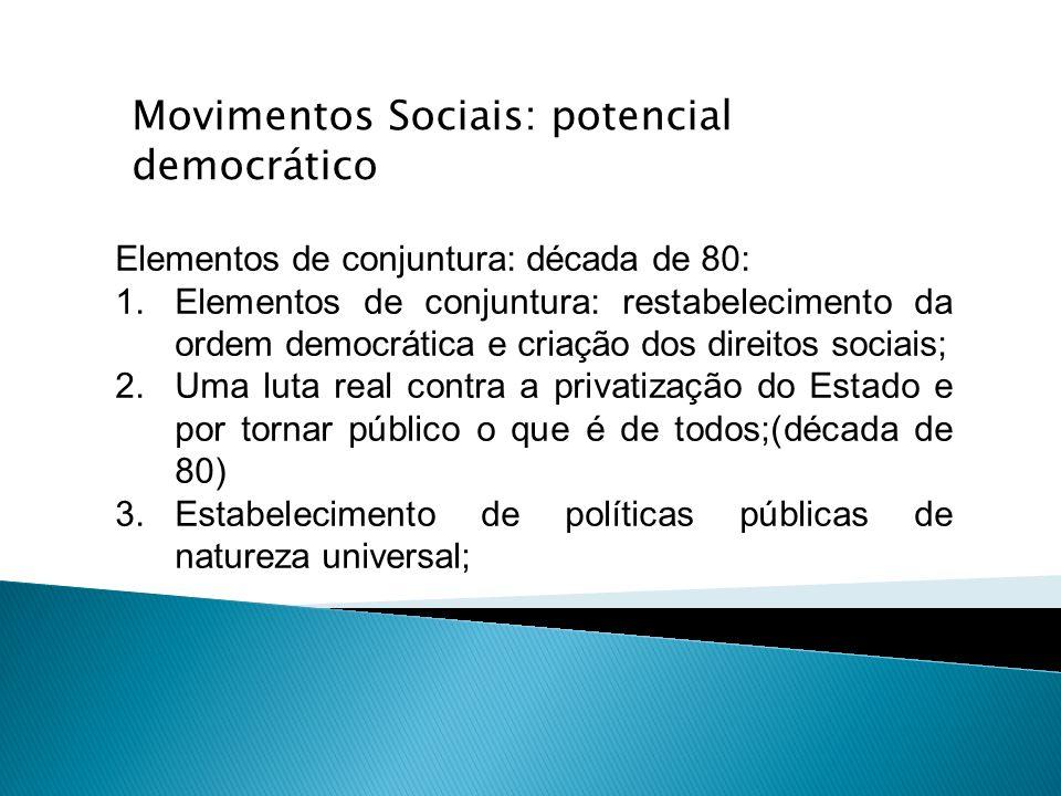 Elementos de conjuntura: década de 80: 1.Elementos de conjuntura: restabelecimento da ordem democrática e criação dos direitos sociais; 2.Uma luta rea